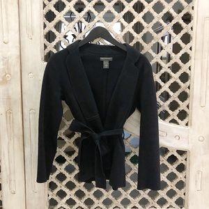 Banana Republic Black wool tie coat